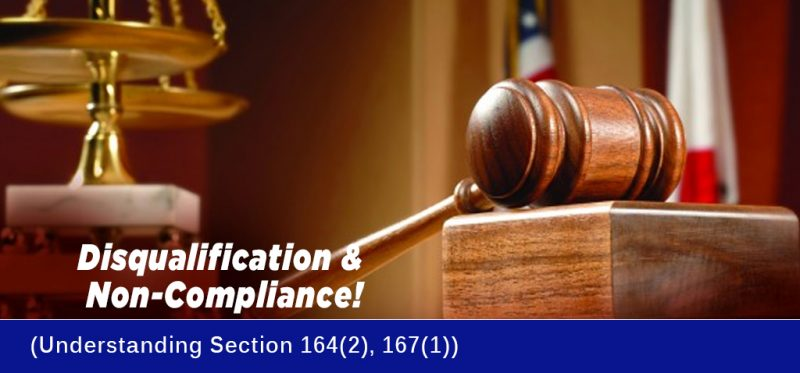 Directors Disqualification - Section 164 & 167