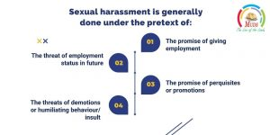 Workplace harassment   Sexual harassment is generally done under the pretext